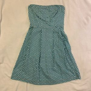 Retro strapless dress, teal number print, size S